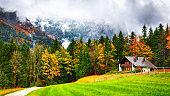 Idyllic autumn scene near Grundlsee lake