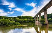 Huge arch  bridge built over Dnister river in Ukraine