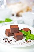 chocolate dessert on a blurred background