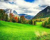 Idyllic autumn scene in Grundlsee lake
