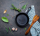Empty old cast iron skillet on dark stone background. Ingredients for making steak  concept with copy space . Various herbs and seasoning rosemary ,sage ,bay leaves ,basil ,garlic and peppercorn.