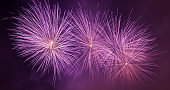 Spectacular fireworks show light up the sky. New year celebration. Panorama
