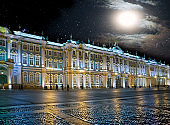 St. Petersburg. Russia. Palace Square and the Winter Palace in night illumination