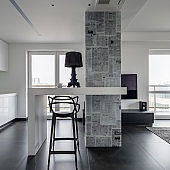 Apartment with magazine themed wallpaper