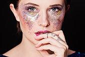 Party Makeup. Closeup Portrait of Cute Woman