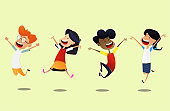 Group of cartoon school children jump for joy.