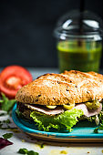 Homemade sandwich with fresh ingredients