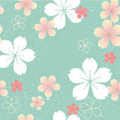 Cherry blossom template vector. Flower pattern background.