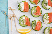 Smoked salmon, cottage cheese and cucumber snack