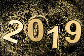 Black and gold 2019 Greeting card