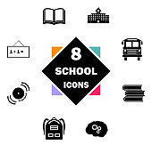 Back to School icon set. Education icons contains School Building, Open Book, Textbooks, Backpack, Bus, Bell, Blackboard, Brain. Black symbol on white background. Simple Flat Vector Illustration signs