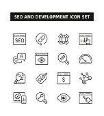 SEO and Development Line Icon Set