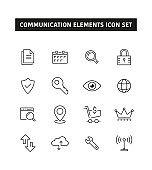 Communication Elements Line Icon Set
