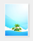 Tropical beach poster with copy space, Vector design template for banner, flyer, invitation.