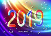 2019 New Year abstract  geometric  background  with colorful 3d shapes.