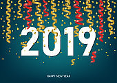 2019  Happy New Year  card  with golden and red  confetti.