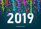 2019 Happy New Year greeting card  with  confetti and ribbons.