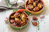 Hot Spanish appetizers with pork fillet
