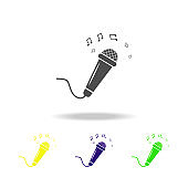microphone and notes multicolored icons. Element of music icon. Signs and symbols collection icon for websites, web design, mobile app, UI, UX on white background