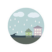 building, cloud, disaster, tsunami color icon. Element of global warming illustration. Signs and symbols collection icon for websites, web design, mobile app on white background