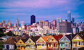 San Francisco California Row Houses a Colorful Victorian Architecture with Modern Massive San Fran Skyline Cityscape