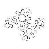Hand drawn industrial cog and gear sketch graphic