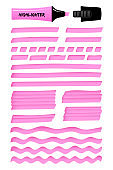 Fuchsia realistic highlight marker lines and boxes
