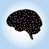 Colorful Little Squares Brain Icon