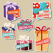 Christmas stickers collection with gift boxes