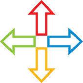 Multi Colored Direction Arrows Icon