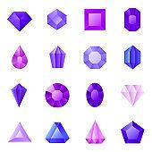 Gems icons set, vector illustration