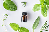 Bottle of essential oil with fresh herbal sage, rosemary, thyme, lemon balm spearmint and peppermint setup with flat lay on white background