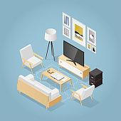 Isometric Living Room Illustration