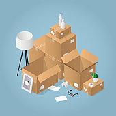 Isometric Moving To New House illustration