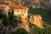 Panoramic view of Varlaam and Roussanou Monastery, Meteora, Greece