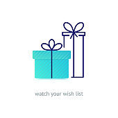 Vector line style logo with gift boxes with a bow