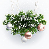 Calligraphic Merry Christmas inscription greeting.