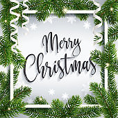 Calligraphic Merry Christmas greeting postcard