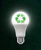 Illuminated LED Light Bulb With Recycle Symbol Inside