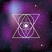 Mystical esoteric symbol. Concept of mystery, magic, witchcraft, alchemy. Star universe background. Vector illustration