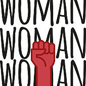Fist hand up with feminist message. Concept of unity, revolution, fight, protest. Women rights. Vector illustration. Flat outline design.