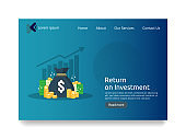 Return on investment ROI concept. Financial business growth arrows to success. dollar stack pile coins and money bag. chart increase profit. Finance stretching rising up. flat style web landing page