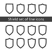 shield logo symbol icon set with outline line style. vector illustration template concept for security, VPN, protection, verified, warranty.