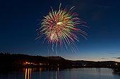 Celebration Fireworks Display Over a Mountain Lake at Dusk