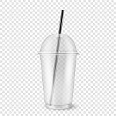 Vector realistic 3d empty clear plastic disposable cup with sphere dome cap and a straw closeup isolated on transparency grid background. Design template of packaging mockup for graphics - milkshake, tea, fresh juice, lemonade, smoothie and other drinks