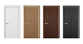 Vector realistic different closed white, brown and black wooden door icon set closeup isolated on white background. Elements of architecture. Design template for graphics. Colorful front doors to houses and buildings collection. Front view