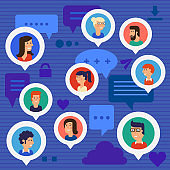 Social Networks Users Global Chatting Concept Illustration