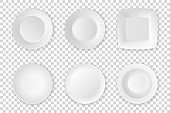 Realistic vector white food empty plate icon set closeup isolated on transparency grid background. Kitchen appliances utensils for eating. Design template, mock up for graphics, printing etc. Top view