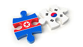 South Korea and North Korea flags on puzzle pieces. Political relationship concept.