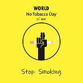 Human hands and Quit Tobacco vector logo design template.May 31st World no tobacco day.No Smoking Day Awareness Idea Campaign.Vector illustration.
